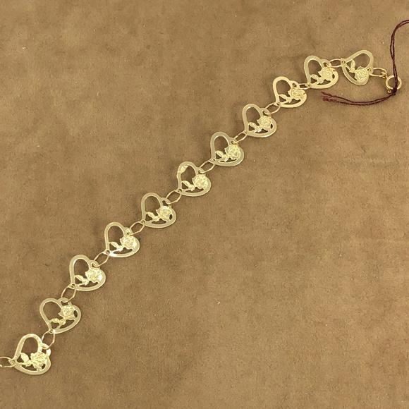 Vintage Other - Girls 5 Inch 14K Gold Hearts & Roses Bracelet